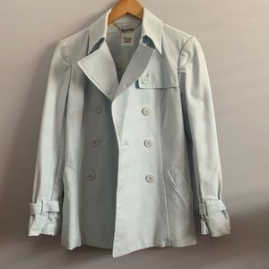 Private label trench coat pale blue